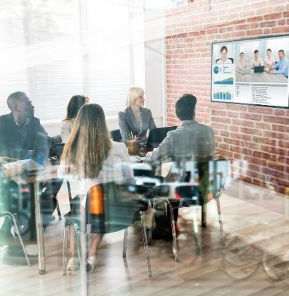 video conference meeting in modern office meeting room