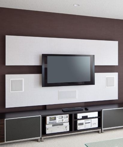 Wall mounted display with hidden audio speakers