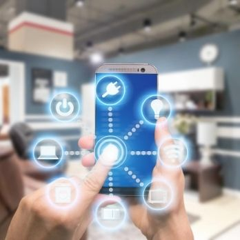 mobile with illustration of smart home application