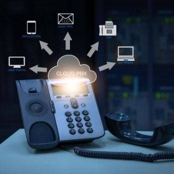 telephone device with illustration icon of VOIP services