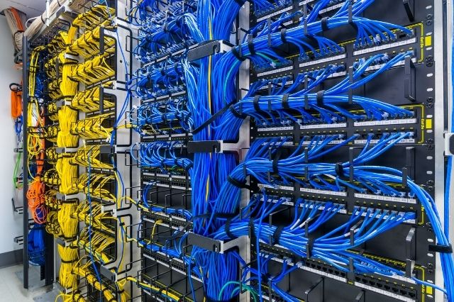 Network rack with organised cables