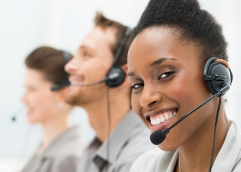 happy call center employee